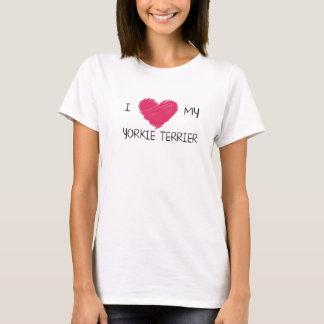 私は私のヨークシャーテリアテリアのハートのTシャツを愛します Tシャツ