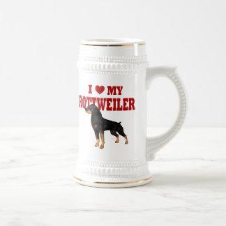 私は私のロットワイラーを愛します ビールジョッキ