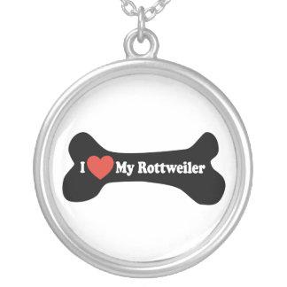 私は私のロットワイラー-犬用の骨--を愛します シルバープレートネックレス