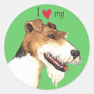 私は私のワイヤーフォックステリア犬を愛します ラウンドシール