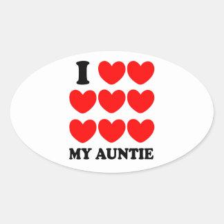 私は私の伯母さんを愛します 楕円形シール
