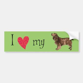私は私の分野スパニエル犬を愛します バンパーステッカー