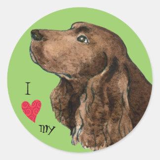 私は私の分野スパニエル犬を愛します ラウンドシール