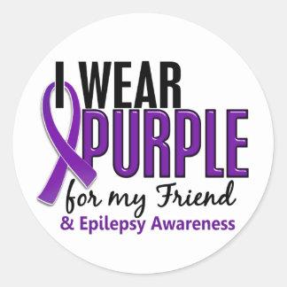 私は私の友人10の癲癇のための紫色を身に着けています ラウンドシール