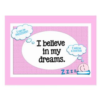 私は私の夢の断言のピンクの青で信じます 葉書き