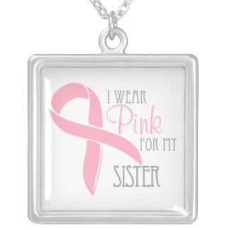 私は私の姉妹のためのピンクを身に着けています シルバープレートネックレス