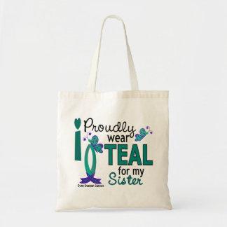私は私の姉妹27の卵巣癌のためのティール(緑がかった色)を身に着けています トートバッグ