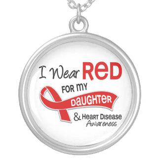 私は私の娘の心臓病のための赤を身に着けています シルバープレートネックレス