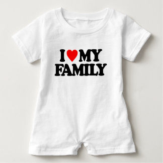 私は私の家族を愛します ベビーロンパース