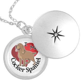 私は私の幸せで愛らしくおもしろいで及びかわいいコッカーSpaniを愛します シルバープレートネックレス