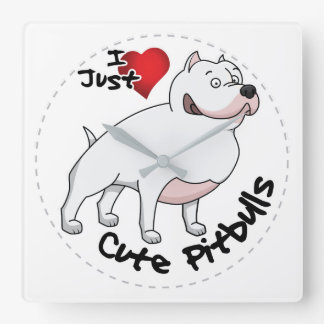 私は私の幸せで愛らしくおもしろいで及びかわいいピットブル犬を愛します スクエア壁時計
