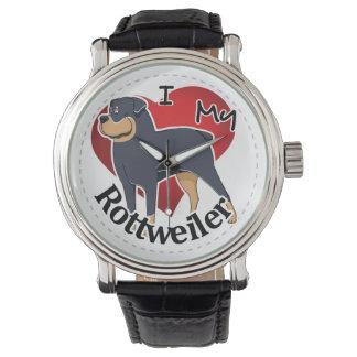 私は私の幸せで愛らしくおもしろいで及びかわいいロットワイラーを愛します 腕時計