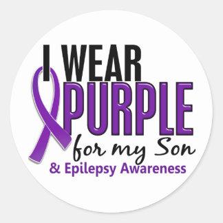 私は私の息子10の癲癇のための紫色を身に着けています ラウンドシール