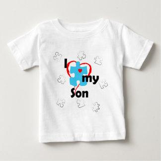 私は私の息子-自閉症--を愛します ベビーTシャツ