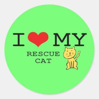 私は私の救助猫のステッカーを愛します ラウンドシール