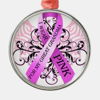 私は私の曾祖母.pngのためのピンクを身に着けています メタルオーナメント