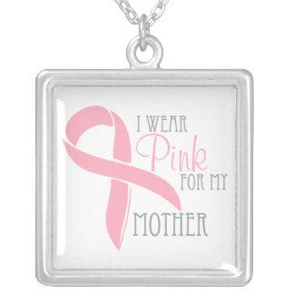 私は私の母のためのピンクを身に着けています シルバープレートネックレス