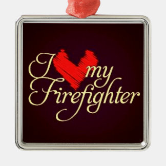 私は私の消防士を愛します メタルオーナメント