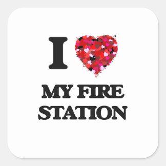私は私の消防署を愛します 正方形シール・ステッカー