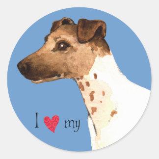 私は私の滑らかなフォックステリア犬を愛します ラウンドシール