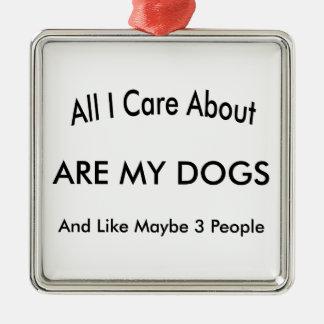 私は私の犬について気になります シルバーカラー正方形オーナメント