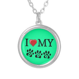 私は私の犬のネックレスのミントの緑の背景を愛します シルバープレートネックレス