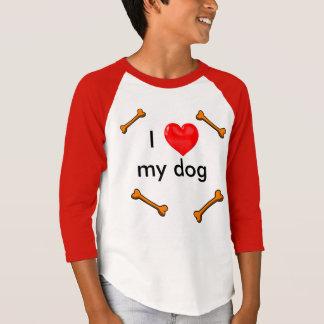 私は私の犬の赤い中間の袖のTシャツIのハート犬を愛します Tシャツ