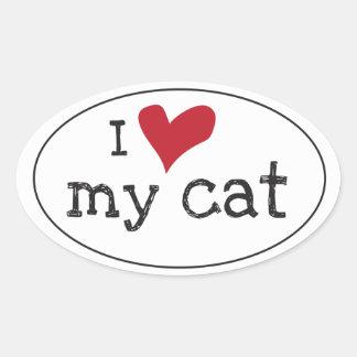 私は私の猫のステッカーを愛します 楕円形シール