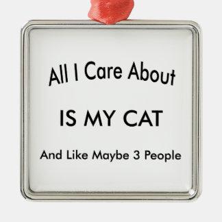 私は私の猫を愛します メタルオーナメント