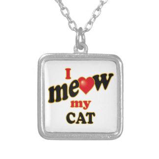 私は私の猫ニャーと鳴きます シルバープレートネックレス