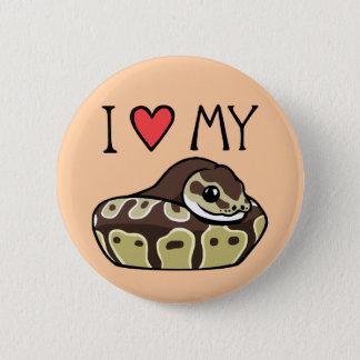 """""""私は私の球の大蛇""""のかわいいヘビのスケッチボタン愛します 缶バッジ"""