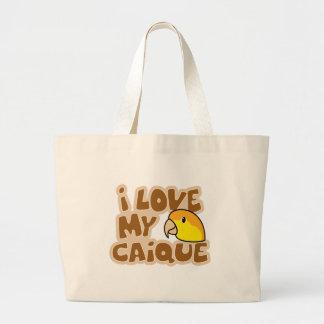 私は私の白によって膨らまされるシロハラインコのバッグを愛します ラージトートバッグ