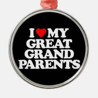 私は私の素晴らしい-祖父母愛します メタルオーナメント