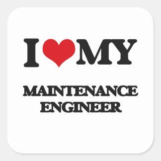 私は私の維持エンジニアを愛します 正方形シールステッカー