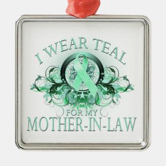 私は私の義母(花柄)のためのティール(緑がかった色)を.png身に着けています メタルオーナメント