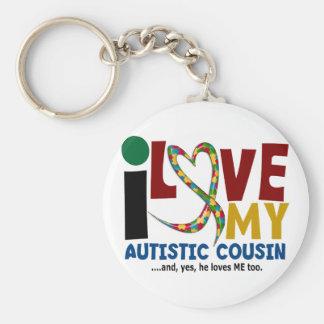 私は私の自閉症のいとこ2の自閉症の認識度を愛します キーホルダー