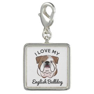 """""""私は私の英国のブルドッグ""""の銀によってめっきされるチャームを愛します チャーム"""