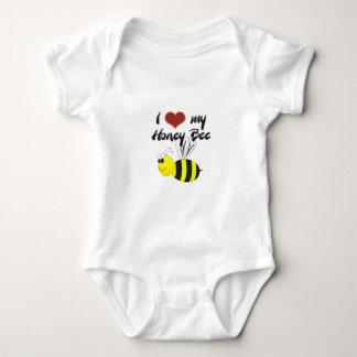 私は私の蜂蜜の蜂の服装およびTシャツを愛します ベビーボディスーツ