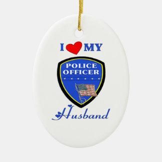 私は私の警察の夫を愛します セラミックオーナメント
