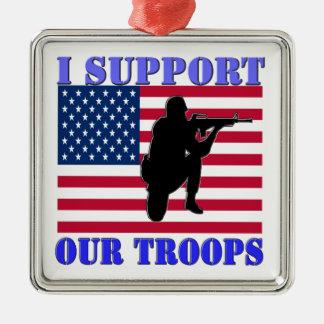 私は私の軍隊を支えます メタルオーナメント