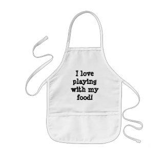 私は私の食糧と遊ぶことを愛します! 子供用エプロン