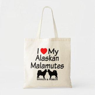 私は私の2匹のアラスカンマラミュートのバッグを愛します トートバッグ