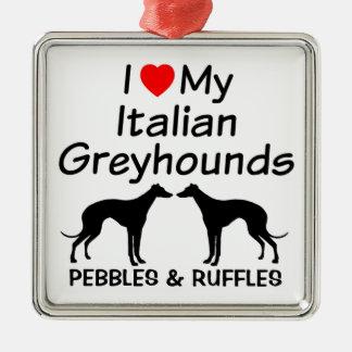 私は私の2匹のイタリアン・グレーハウンド犬のオーナメントを愛します メタルオーナメント