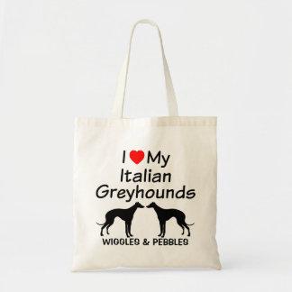 私は私の2匹のイタリアン・グレーハウンド犬のバッグを愛します トートバッグ