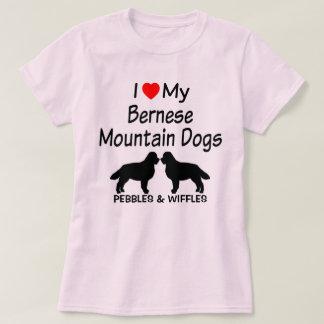 私は私の2匹のバーニーズ・マウンテン・ドッグを愛します Tシャツ