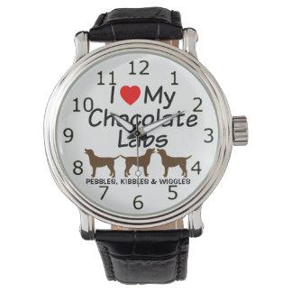 私は私の3つのチョコレート実験室犬を愛します 腕時計