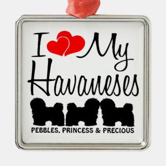 私は私の3つHavanesesを愛します メタルオーナメント