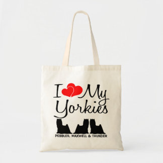 私は私の3ヨークシャーテリアを愛します トートバッグ