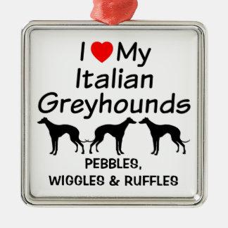 私は私の3匹のイタリアン・グレーハウンド犬のオーナメントを愛します メタルオーナメント
