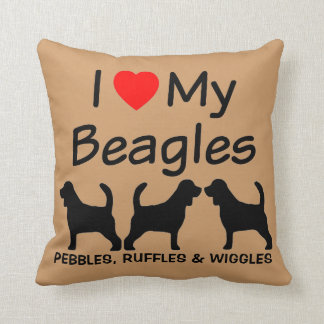 私は私の3頭のビーグル犬犬を愛します クッション